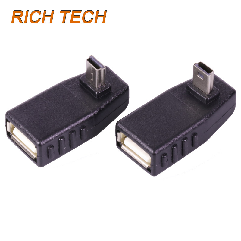 15 pcs 90 Degree Elbow USB MINI 5PIN plug TO USB Female extand Connector High quality USB Adapter