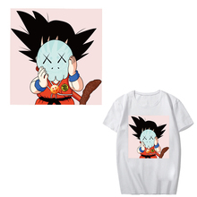 Japan Popular Anime DRAGON BALL Son Goku Stickers Iron on Patches for Clothing DIY T-shirt Sweater Thermal Transfer Paper Patch