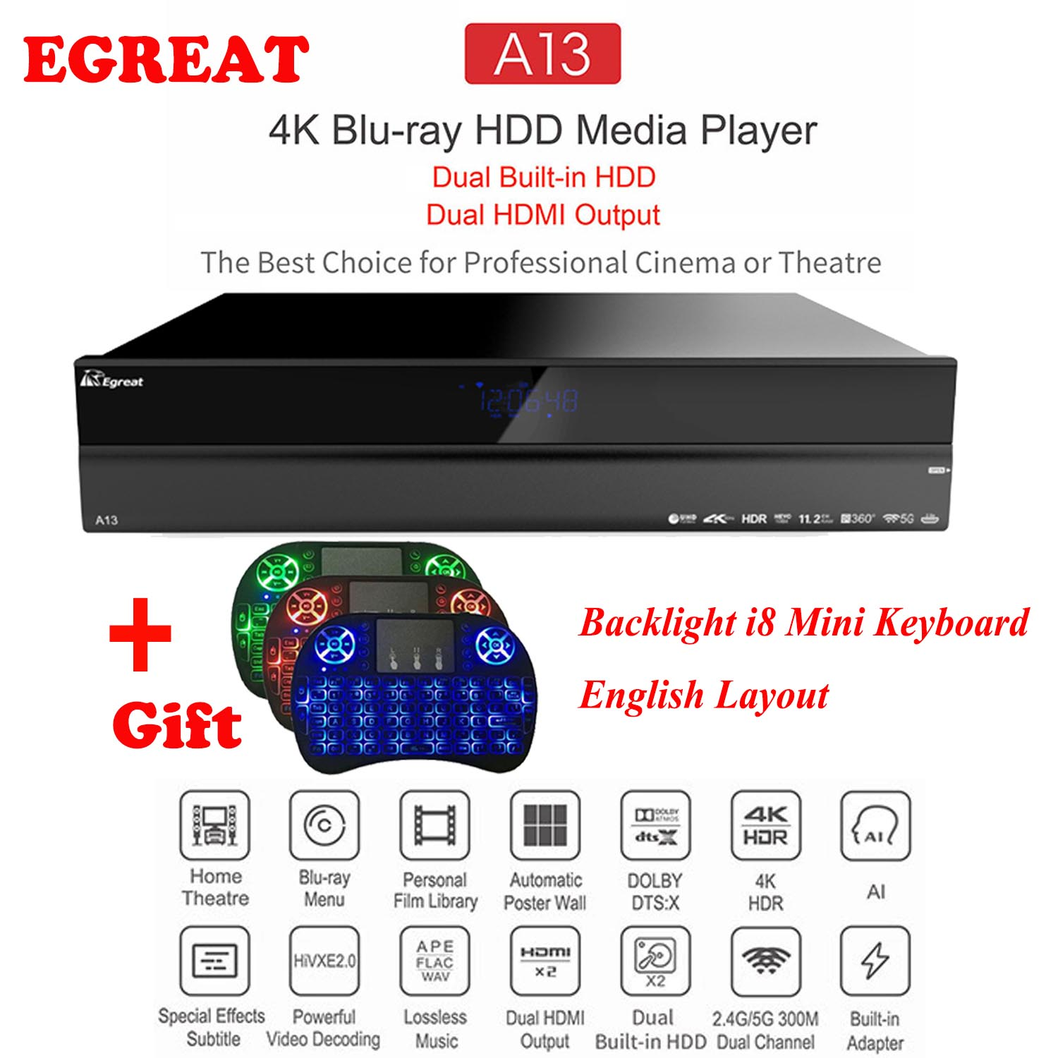 2019 High-end Sistema de Home Theatre Egreat A13 4 K UHD Blu-ray HDD Media Player, dupla HDD Embutido, Dual Saída HDMI Caixa de TV Android