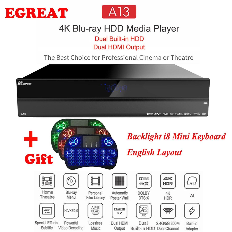 2019 système Home cinéma haut de gamme Egreat A13 4 K UHD lecteur multimédia Blu-ray HDD, double disque dur intégré, double sortie HDMI boîtier TV Android
