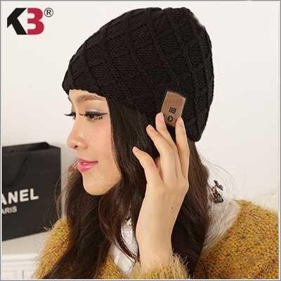 2016 de Invierno 4.1 de Moda Bluetooth Beanie Sombrero Pom Pom Gorro de lana Cap música con Eliminación de Altavoces y Micrófono Manos Libres Inalámbrico auriculares