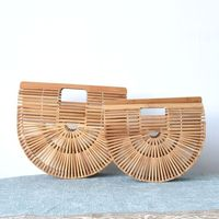 women bamboo handbag Half Moon Wood clutch Totes Bamboo Handbag For Ladies Handmade Woven Straw Beach Bag Summer Women's Purse