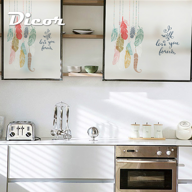 DICOR Static Cling Stained Glass Window Film Frosted Opaque Privacy Home Decor Digital print Removable Colorful Vision BLT76 in Decorative Films from Home Garden