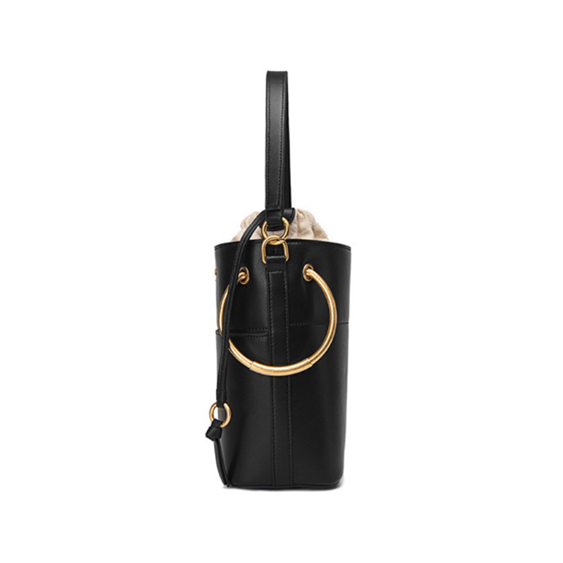 Genuine Leather Women Handbags Drawstring Round Ring Bucket Bags 2 in 1 Wide Strap Shoulder Crossbody Bags Female Handbag