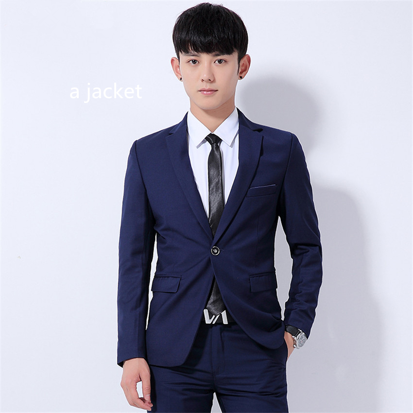 9fbdf9666 الربيع والخريف في سن المراهقة الرجال دعوى سترة ضئيلة تصميم لون نقي الرجال  السترة معطف الآسيوية