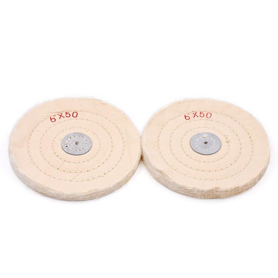 6x50 Kain Putih Poles Roda Buffing Arbor Buffer Bahasa Polandia Sikat Putaran Gigi Polishing Alat Grinding Pembersihan Di Abrasif Dari