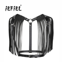 Black White Fashion Women Ladies PU Leather Adjustable Body Chest Harness Bondage Belt With Shoulder Tassel