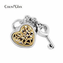 Authentic 925 Sterling Silver Jewelry Gold Heart Key Fashion Charms Beads Fits European Women Bracelets