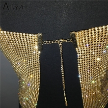 Glitter Nightclub Backless Rhinestone Tank Top Women Sexy Metal Crystal Diamonds Sequined Night Club Party Wear Crop Top