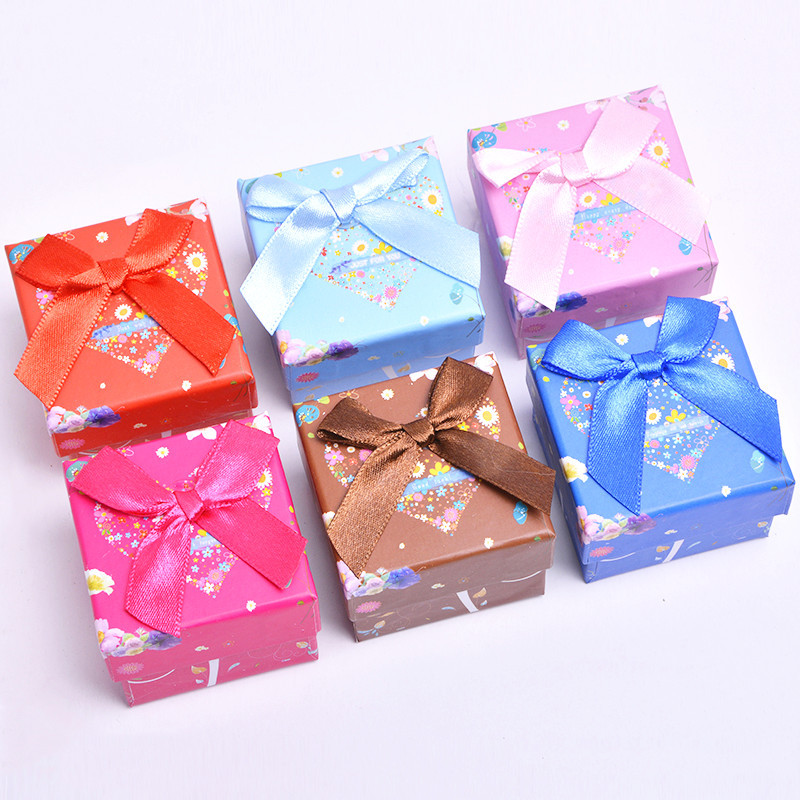 6pcs 5*5*3cm Fashion Ring Box Multi Colors Present Earring Boxes For Gifts Cardboard Jewelry Display Packing Storage Case