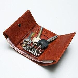 Кожаный чехол для ключей LANSPACE, держатель для автомобильных ключей из коровьей кожи на молнии, высокое качество, держатели для монет