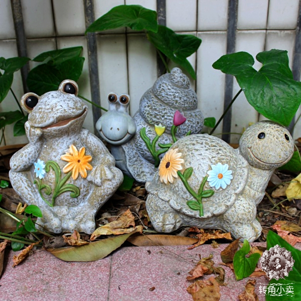 Ceramic Clay Garden Style Courtyard Garden Snails, Frogs Turtle Sunscreen  Preservative Outdoor Home Craft Ornaments