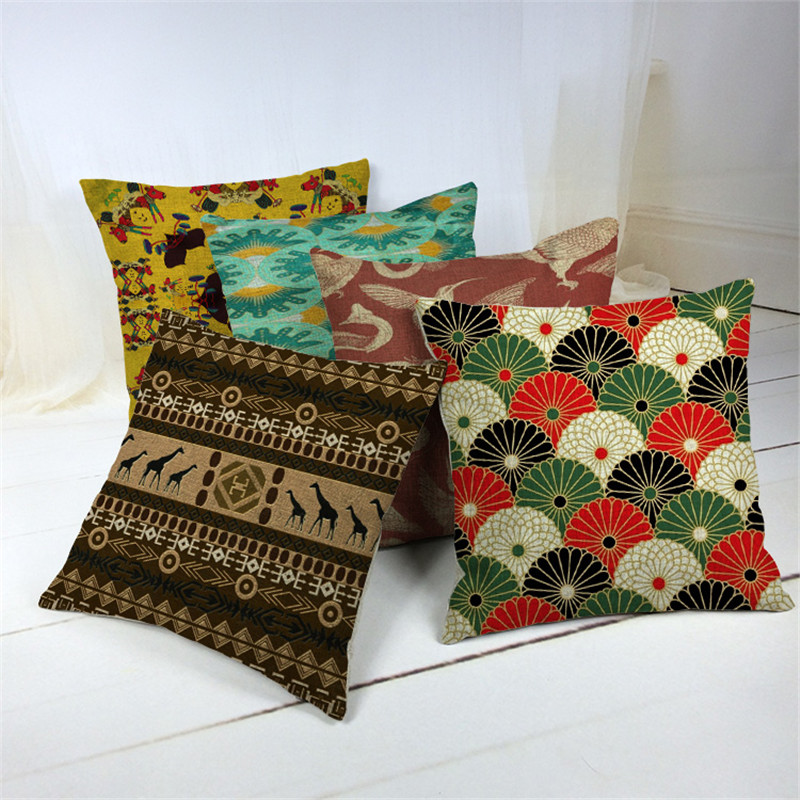 Cotton Linen print Cushion Cover Rustic <font><b>Elegant</b></font> Car Pillowslip <font><b>Home</b></font> <font><b>Decoration</b></font> Pillowcase for Office Sofa 43x43cm