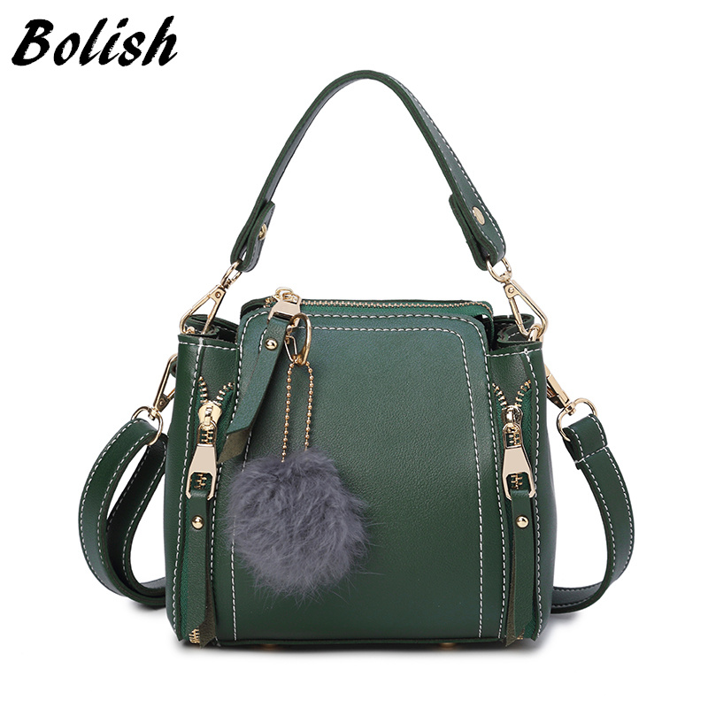 Bolish Women Vintage PU Hairball Shoulder Bag Female Causal Daily Shopping Handbag Lady All-Purpose Style Solid Crossbody Bag