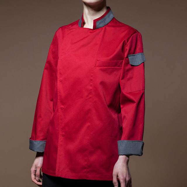 Black Red White Long Sleeve Shirt Hotel Restaurant Chef Waitstaff Uniform Bistro Bar Cafe Hospitality Catering Work Wear D58