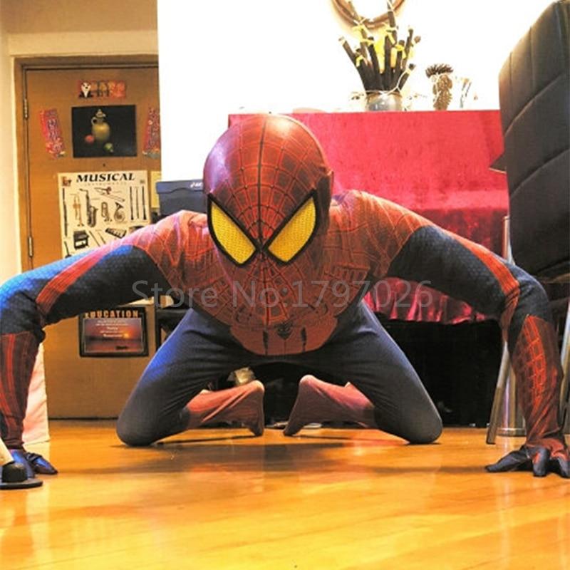 Handmade Halloween Superhero Aveners Movie <font><b>Spiderman</b></font> <font><b>2</b></font> Zentai Suits Women <font><b>Men</b></font> Kids <font><b>Spiderman</b></font> <font><b>Costume</b></font> With Eyemask/Shoes