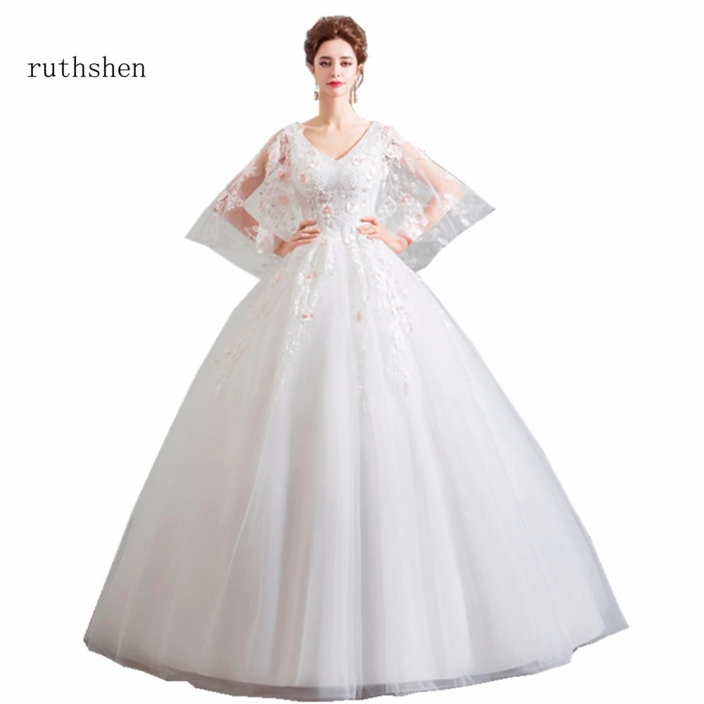 Wedding Gowns With Cap Sleeves: Ruthshen Wedding Dresses Luxury V Neck Lace Appliques