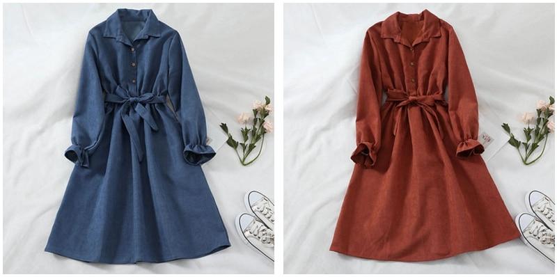 Mferlier Winter Dress Women Turn Down Collar Long Flare Sleeve Sashes High Waist Mori Girl 5 Solid Colors Vintage Shirt Dress 3