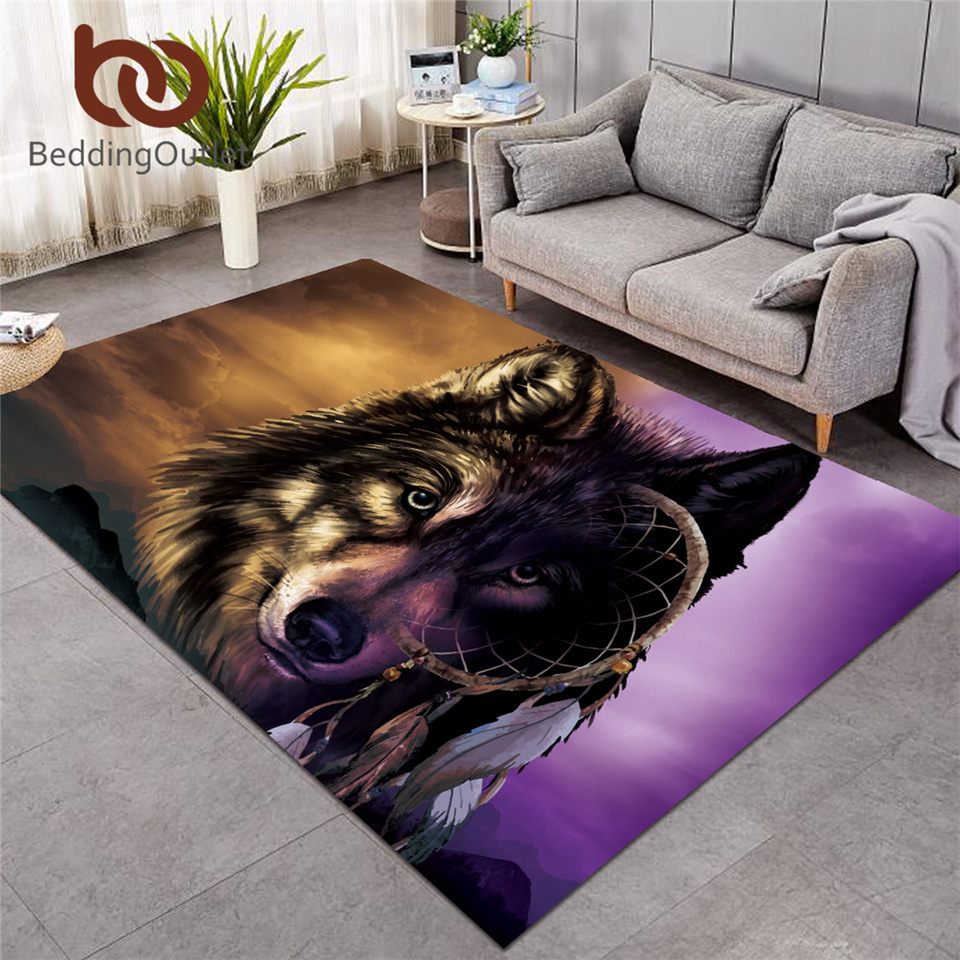 BeddingOutlet Wolf Large Carpets For Living Room Lion Dreamcatcher Area Rug Purple Brown Non-slip Floor Mat 122x183cm Wholesale