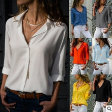 women blouses Long Sleeve Womens Deep V Button Chiffon Shirt tops  blouse
