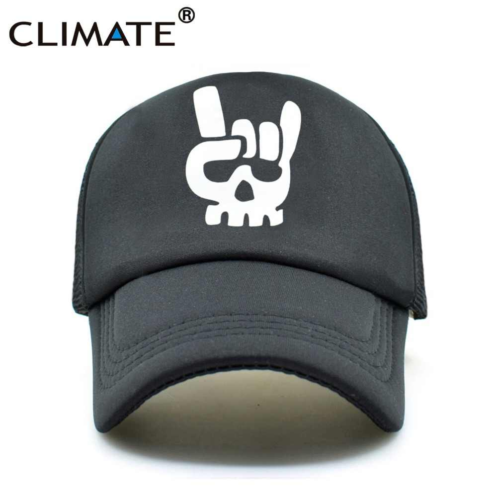 CLIMATE Men Women Summer Mesh Caps Death Metal Rock Music Defqon.1 Skeleton  Metal Cool 0a1cb7aca08f