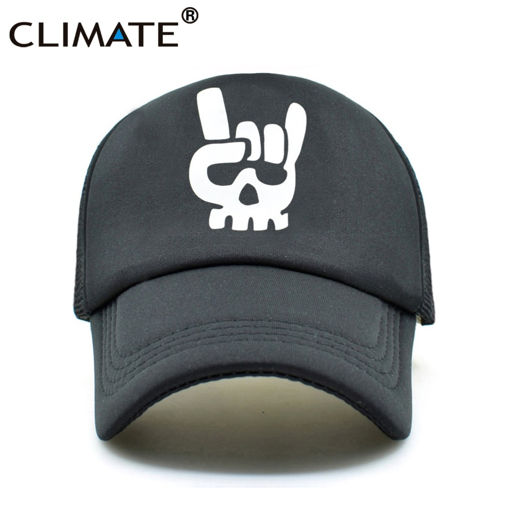 CLIMATE Men Summer Mesh Caps Death Metal Rock Music Defqon.1 Skeleton Black Cool Summer Baseball Cap Net Trucker Caps Hat черная моль