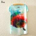 BLACK Brand women Batwing Sleeve T shirt Womens Colored Hot-air Balloon Print T-Shirt Summer Style Shirts Casual Women Tops