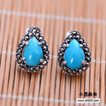 Black silver jewelry wholesale 925 sterling silver jewelry Thailand imported Turquoise Stone female ear nail xh052569