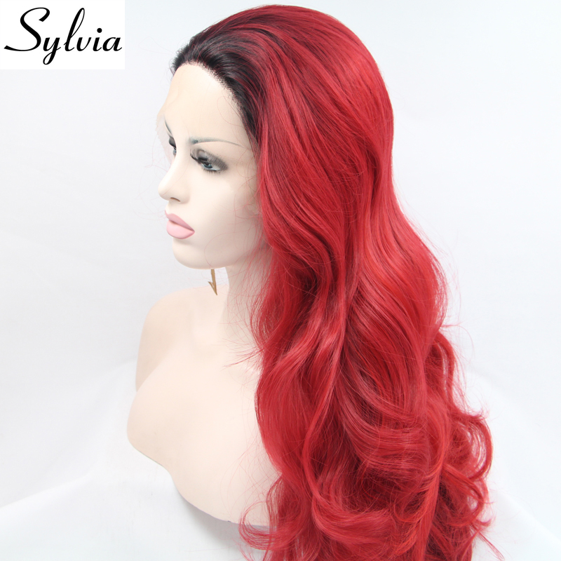 Sylvia natural red ombre loose wave synthetic lace front wigs with dark roots for white woman heat resistant fiber hair