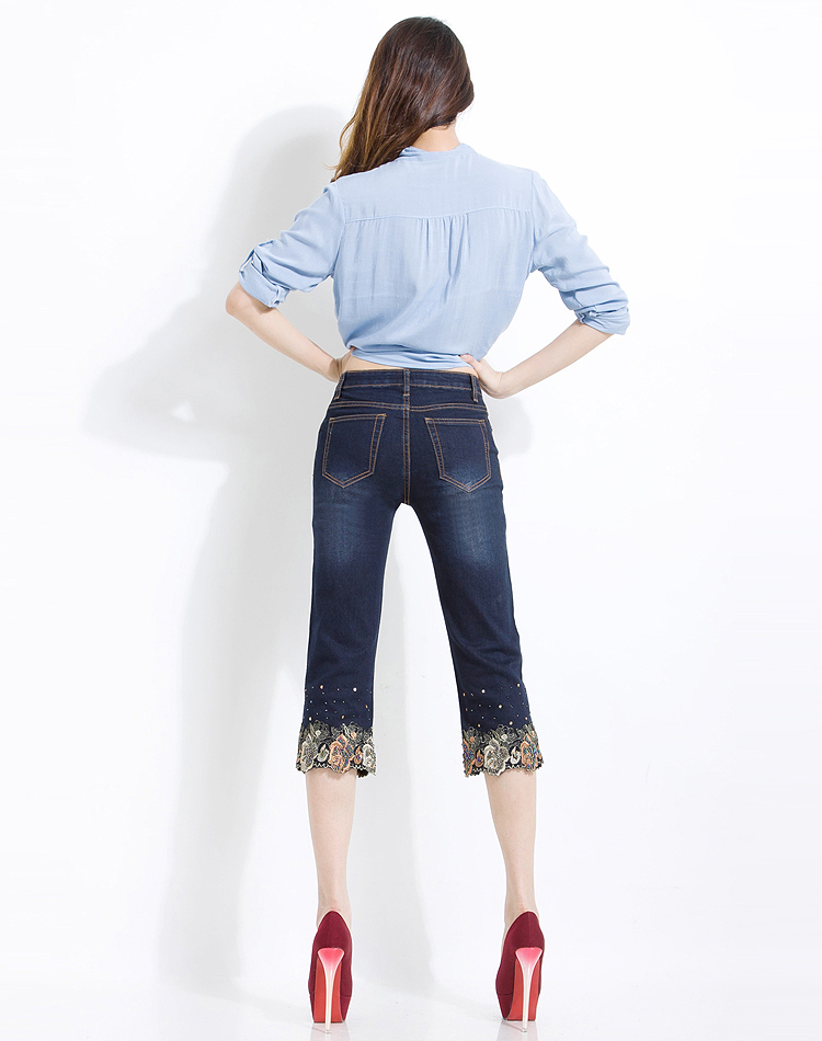 KSTUN FERZIGE 2020 Women Jeans Shorts Korean women's folk style summer thin stretch beaded embroidery Denim pants dark blue push up 36 15