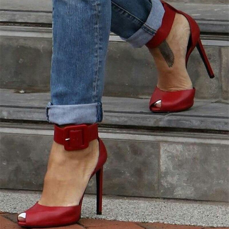 Tamaño Cuero Fancy Señoras Rojo Las 34 Mujer Shofoo Del De Zapatos Manera 45 Tacón Sandalias Libre Rojo Aguja Correo xCpqHZwY