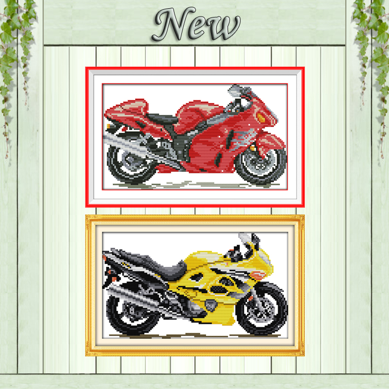 Red Motorcycle Yellow Home Decor Paintings Counted Printed