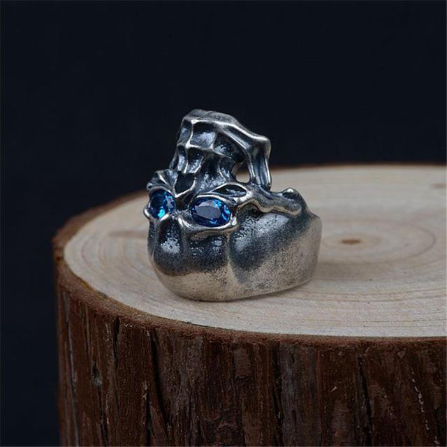 ORIGINAL 925 STERLING SILVER SKULL BLUE ZIRCON EYE RINGS
