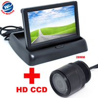 4.3 Color LCD Car Video Foldable Monitor with 28mm Car HD CCD Rear View BACKUP Camera 2 in 1 Night Vision backup Camera