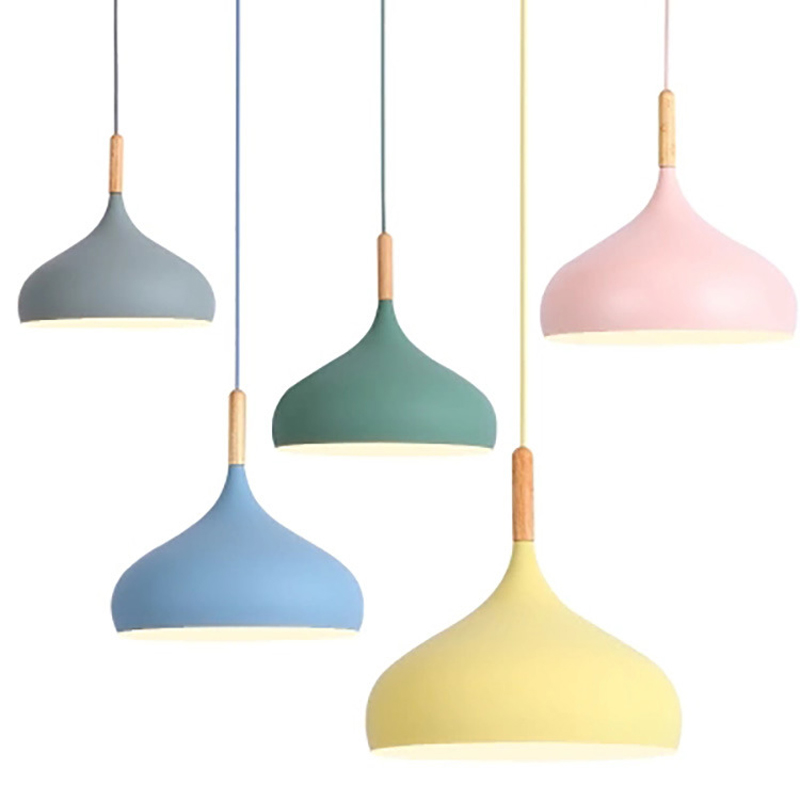 Modern Macaron Colorful Wood Pendant Light Industrial Wind Aluminum E27 Antique Pendant Lamps for Restaurant Kitchen Office BarModern Macaron Colorful Wood Pendant Light Industrial Wind Aluminum E27 Antique Pendant Lamps for Restaurant Kitchen Office Bar