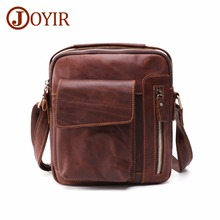 JOYIR Genuine Cow Leather Messenger Bag Zipper Design Male Shoulder Crossbody Fashion Handbag For Men Travel Flap Bolsas