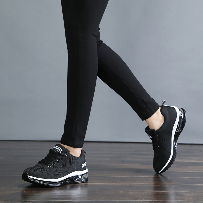 Golden Sapling Womens Running Shoes Sport Air Mesh Womens Sneakers Runners Solid Color Black Air Cushion Women Shoes Sneakers