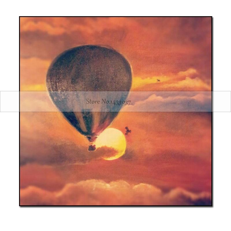 100% -ban kézzel készített absztrakt hőlégballon vászon - Lakberendezés