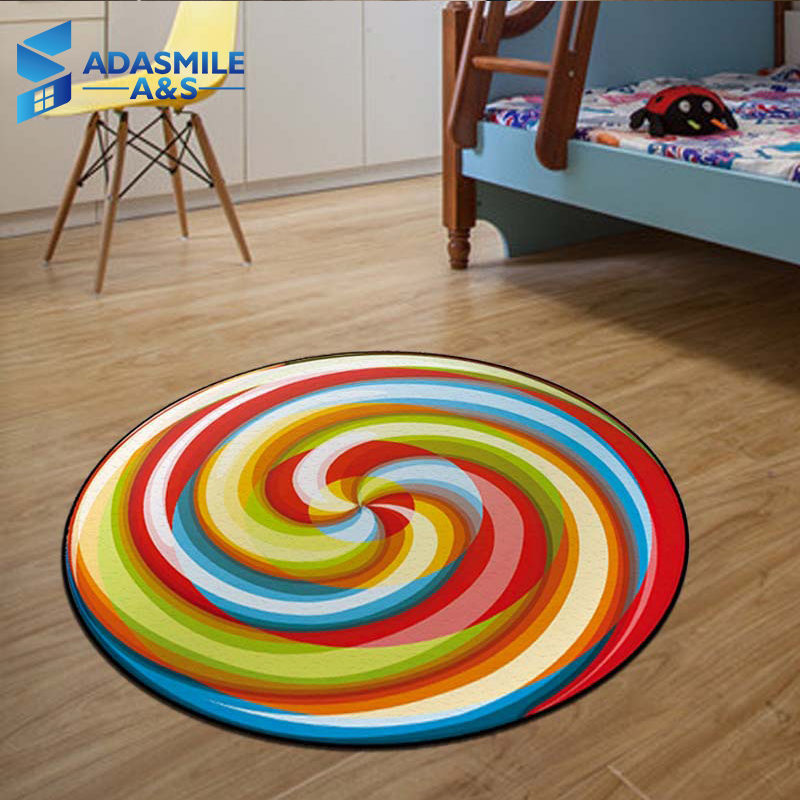 Round 100cm Lollipop Flannel Soft Anti-slip Chair Mats Baby Crawling Kid Play Game Carpet Bedside Living Room Area Rugs Carpets