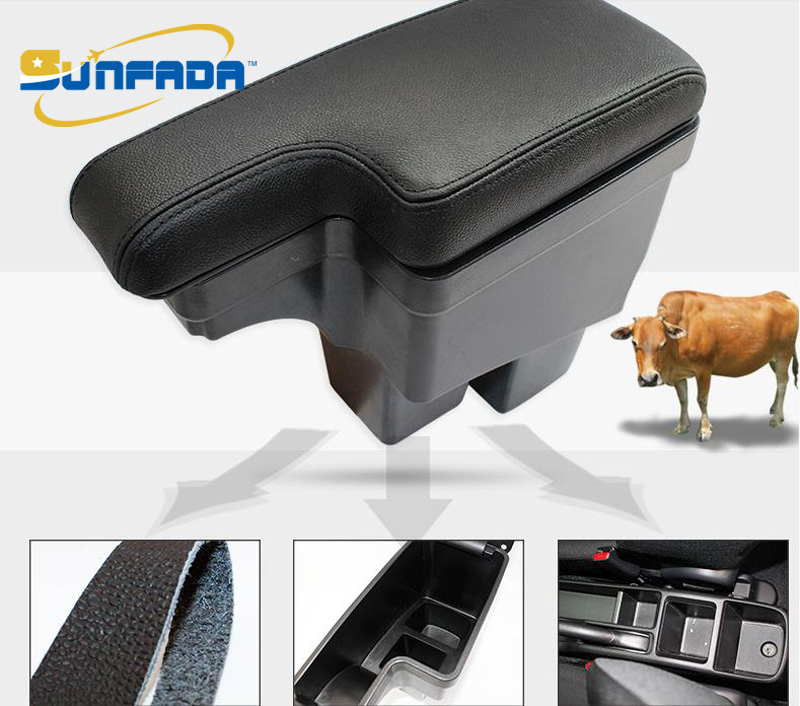 SUNFADA High quality Leather Car Armrest Central Store Content Storage Box For 3rd Gen Honda Fit