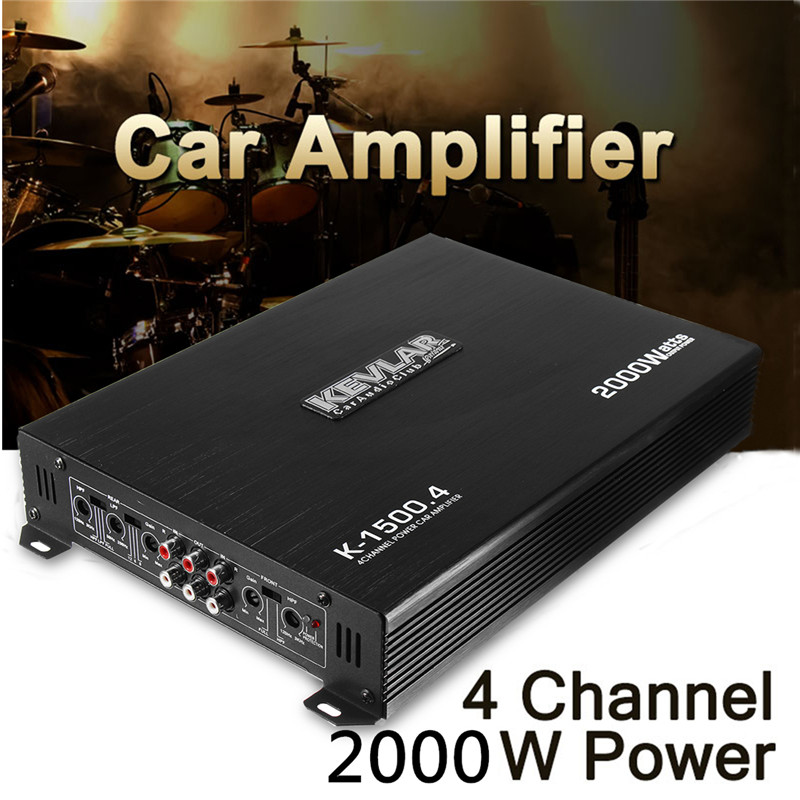 2000 Watt 4 Channel CH Car Auto Audio Power Amplifier HiFi Stereo Amp Aluminum 12V Audio Power Amplifier Player