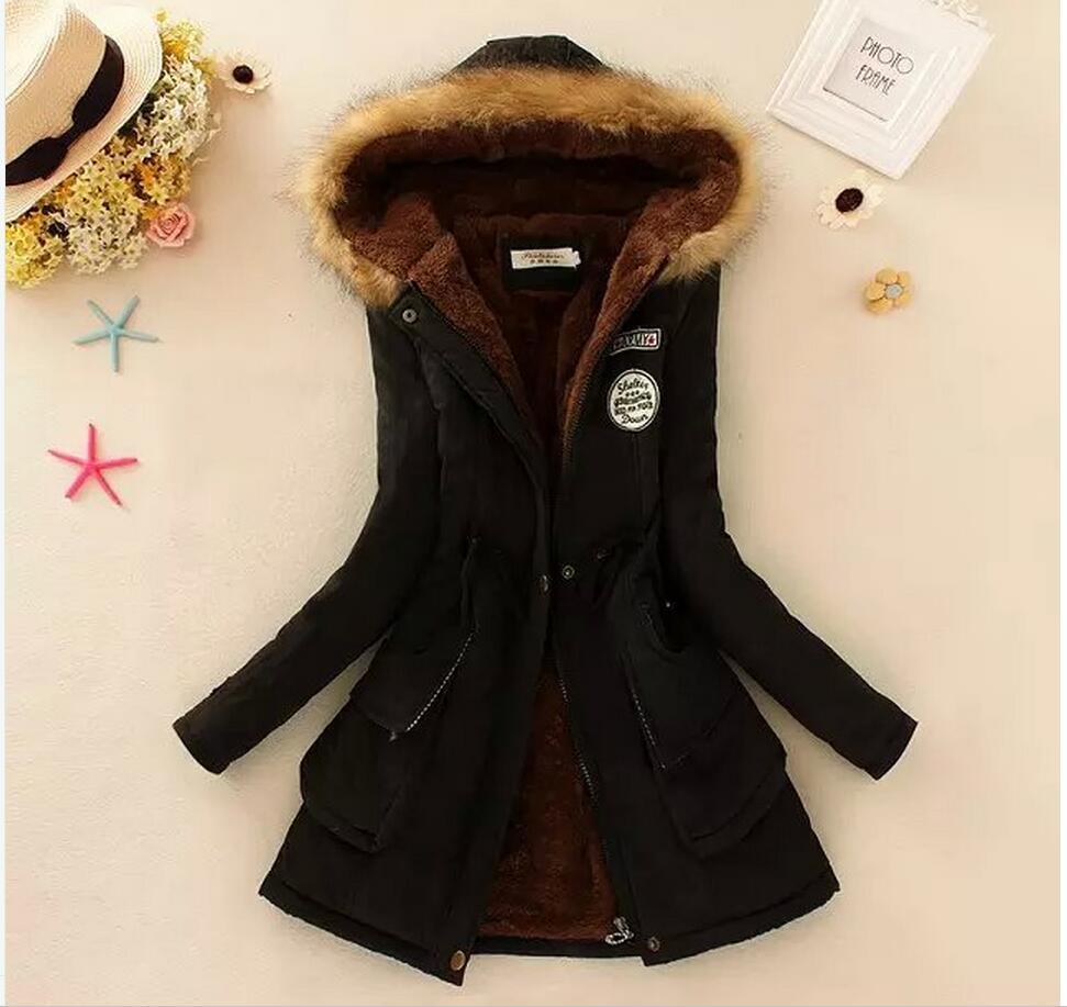 2019 winter thickening jacket large size hooded long cotton tattoo lambskin plush towel cotton women basic jackets coat  61050