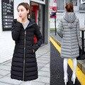2016 Новых Зимнее Пальто В Длинный Участок Женской Моды дамы Slim Down Оптовая Silod Цвет для Повелительницы вершины D651