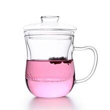 Прозрачная стеклянная чайная чашка с фильтром и красивой крышкой, ручная выдувная боросиликатная офисная кружка