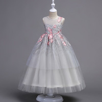 4 17y 2018 Super Brand Princess Dresses Wedding Fashion Flower Girl Dress Sequins Leaves Embroidery Birthday