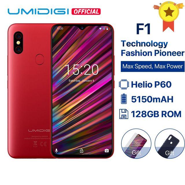 "UMIDIGI F1 אנדרואיד 9.0 6.3 ""FHD + 128 GB ROM 4 GB RAM Helio P60 5150 mAh גדול סוללה 18 W מהיר טעינת Smartphone 16MP + 8MP במלאי"