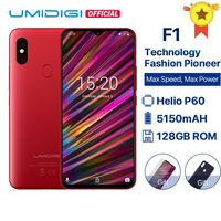 UMIDIGI F1 Android 9.0 6.3 FHD+ 128GB ROM 4GB RAM Helio P60 5150mAh Big Battery 18W Fast Charge Smartphone 16MP+8MP In stock