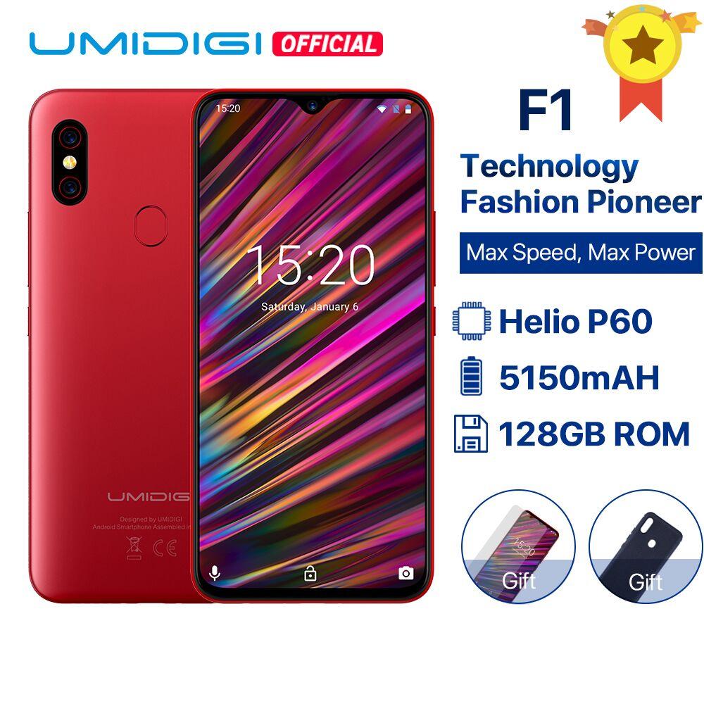UMIDIGI F1 Android 9.0 6.3 FHD + 128GB ROM 4GB RAM Helio P60 5150mAh grande batterie 18W Charge rapide Smartphone 16MP + 8MP en stock