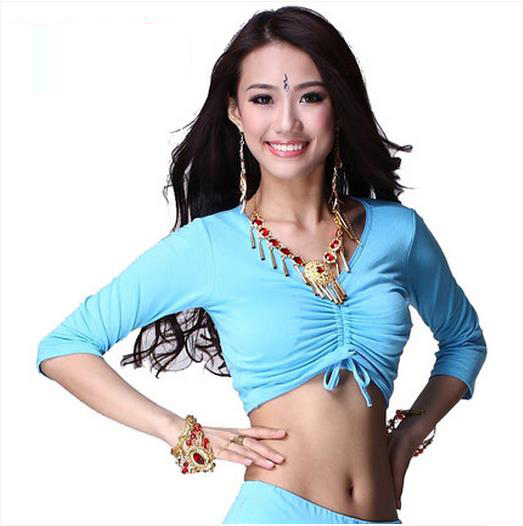 New Arrival Cotton Belly Dance Top Momen Half Sleeves  Belly Dance Tops 9 Colors Sexy Tops
