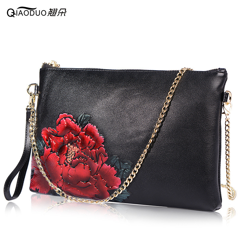 First Layer Genuine Leather Hand Bag Envelope Envelope Party Bag Bolsa Feminina Chain Women Messenger Bags Chinses Wind Shoulder women shoulder bag cossbody handbag genuine first layer of cow leather 2017 korean diamond lattice chain women messenger bag